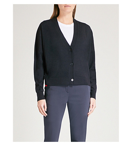 WHISTLES V-neck knitted wool cardigan (Navy