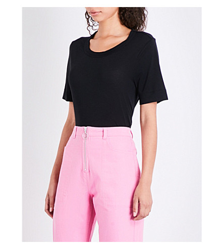 WHISTLES Rosa Double Trim jersey T-shirt (Black