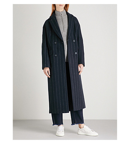 WHISTLES Striped woven coat (Navy