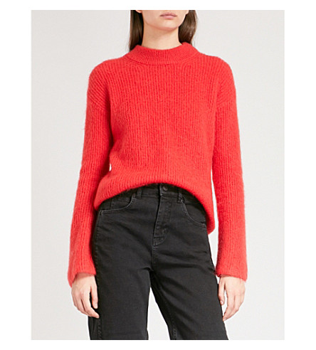 WHISTLES Fluted ribbed-knit jumper (Red