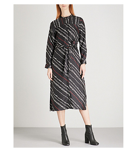 WHISTLES Striped silk-twill dress (Multi-coloured