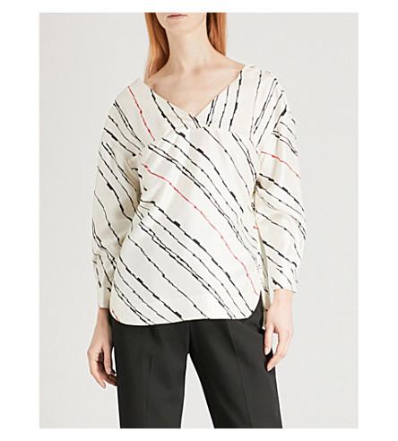 WHISTLES Striped silk-twill top (Multi-coloured