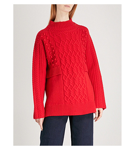 WHISTLES Oversized wool-blend jumper (Red