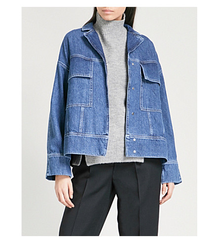 WHISTLES Patch pocket denim jacket (Blue