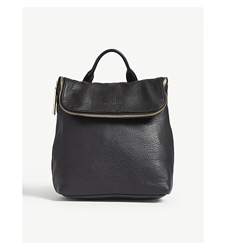 WHISTLES Mini Verity grained leather backpack (Black
