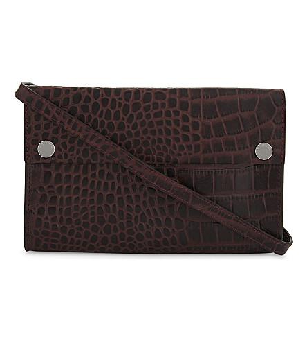 WHISTLES Aubry crocodile-embossed leather cross-body bag (Plum/claret