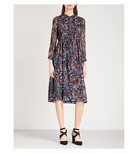 WHISTLES Mari-print chiffon shirt dress (Multi-coloured