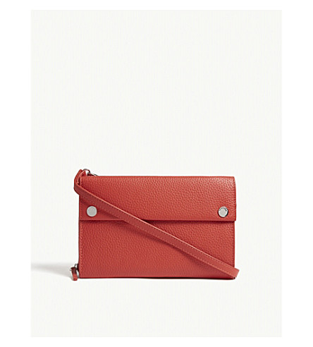 WHISTLES Aubry pebbled leather cross-body bag (Red