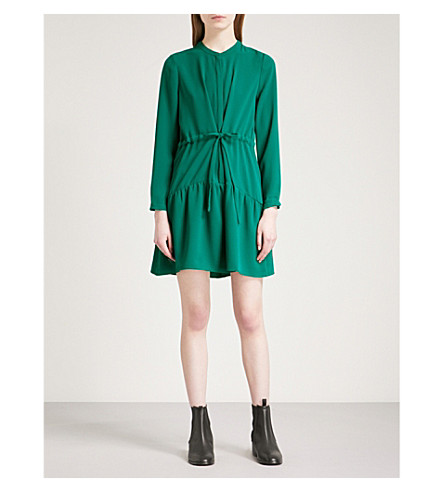 WHISTLES Cynthia tie-waist crepe dress (Green