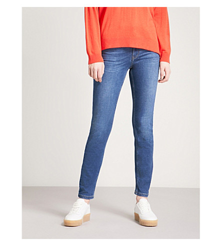 WHISTLES Skinny slim-fit mid-rise jeans (Blue