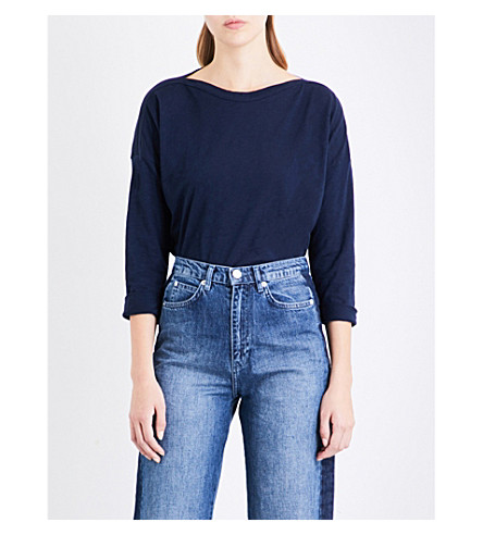 WHISTLES Boat neck cotton top (Navy