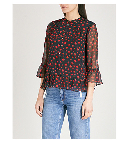 WHISTLES Eclipse printed chiffon shirt (Multi-coloured