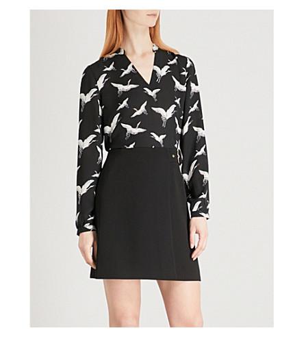 WHISTLES Crane-print crepe blouse (Monochrome