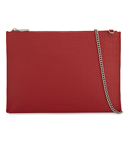 WHISTLES Croc-embossed Rivington clutch bag (Red