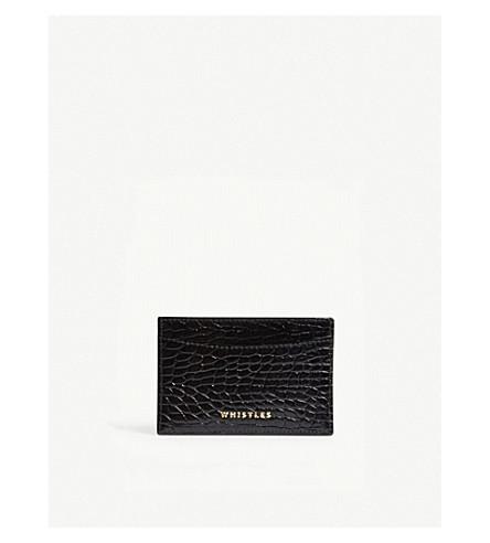 WHISTLES Crocodile-embossed leather card holder (Black