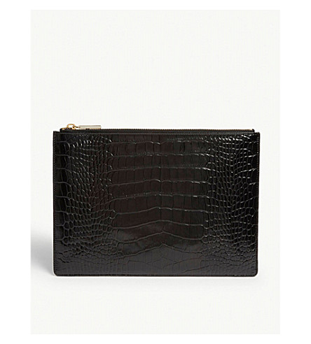 WHISTLES Croc-embossed leather clutch (Black