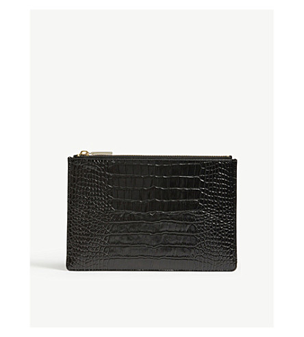 WHISTLES Shiny small crocodile-embossed leather clutch (Black