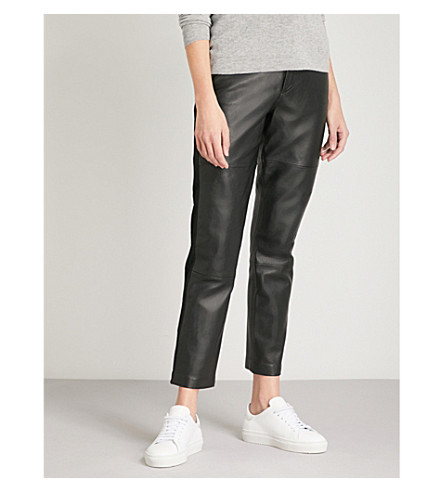 WHISTLES Side-panel skinny high-rise leather trousers (Black