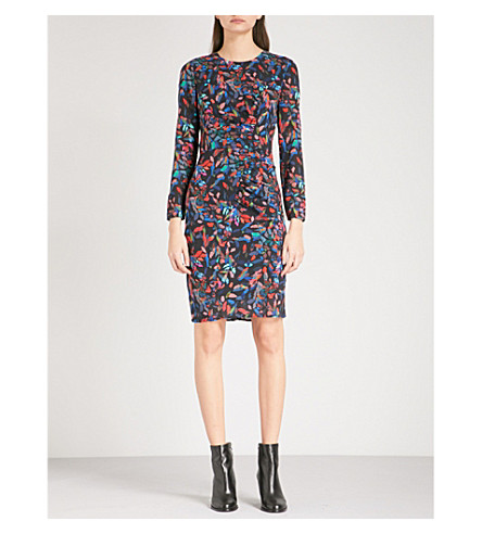 WHISTLES Maria mari abstract-print stretch-silk dress (Multi-coloured