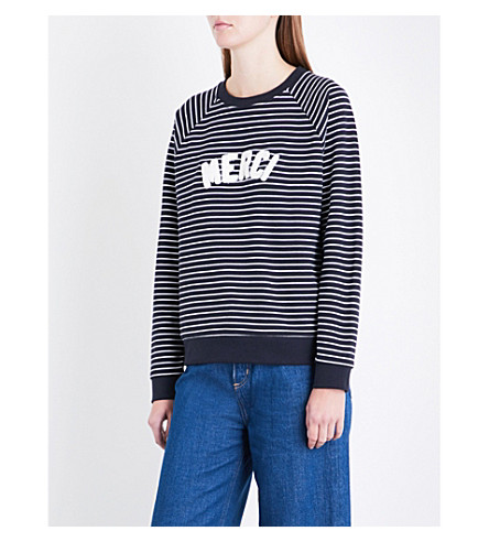 WHISTLES Merci striped cotton-jersey sweatshirt (Multi-coloured