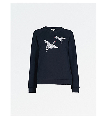 WHISTLES Crane-embroidered cotton-jersey sweatshirt (Navy