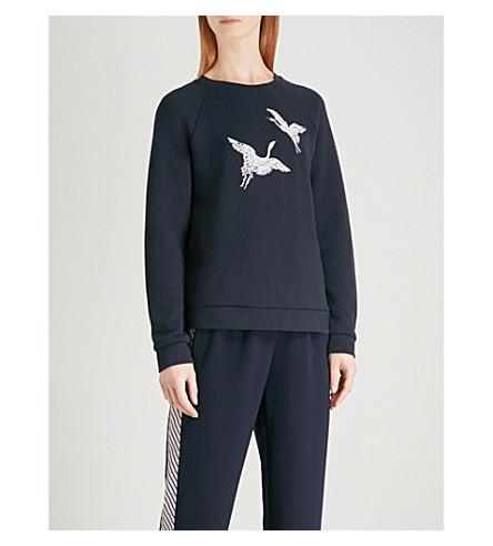 WHISTLES Crane-embroidered cotton-jersey sweatshirt (Navy
