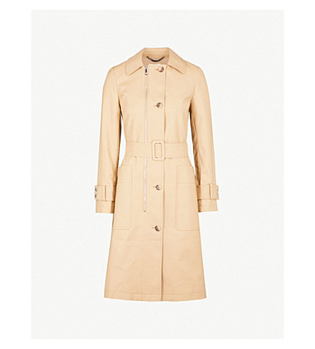 WHISTLES Zip-detail belted stretch-cotton trench coat (Tan