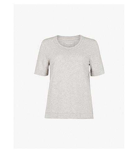 WHISTLES Rosa double-trim cotton-jersey T-shirt (Grey
