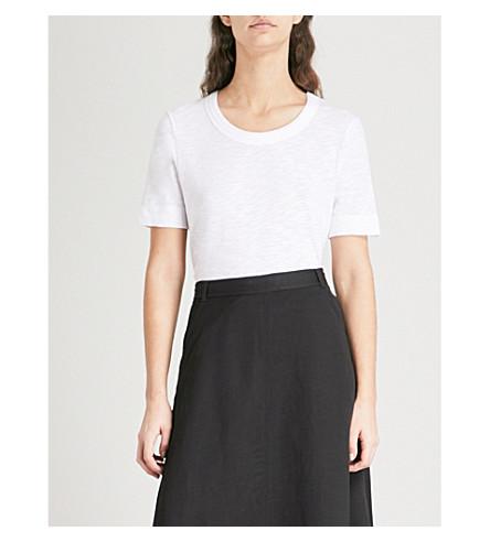 WHISTLES Rosa double-trim cotton-jersey T-shirt (White