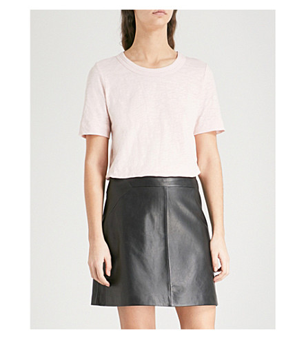 WHISTLES Rosa double-trim cotton-jersey T-shirt (Pale+pink