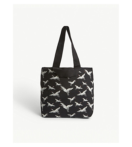 WHISTLES Crane knitted tote bag (Black