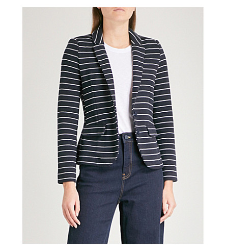 WHISTLES Striped cotton-blend jacket (Navy