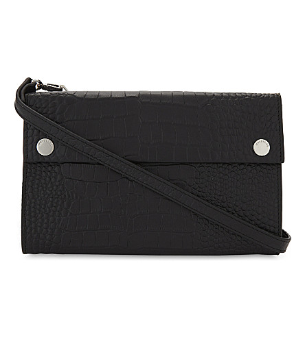 WHISTLES Aubry matte crocodile embossed leather cross-body bag (Black