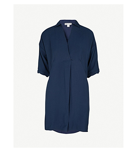 WHISTLES Lola woven mini dress (Navy