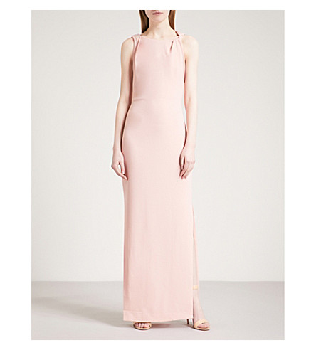 WHISTLES Knotted-detail crepe maxi dress (Pale+pink