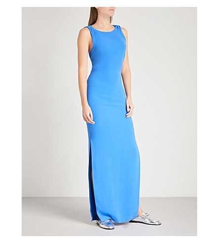 WHISTLES Knotted-detail crepe maxi dress (Blue