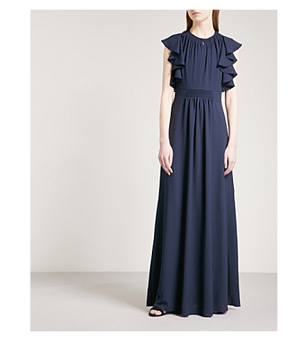WHISTLES Zyta flared-detail crepe maxi dress (Navy
