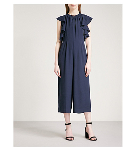 WHISTLES Zyta flared-detail crepe jumpsuit (Navy