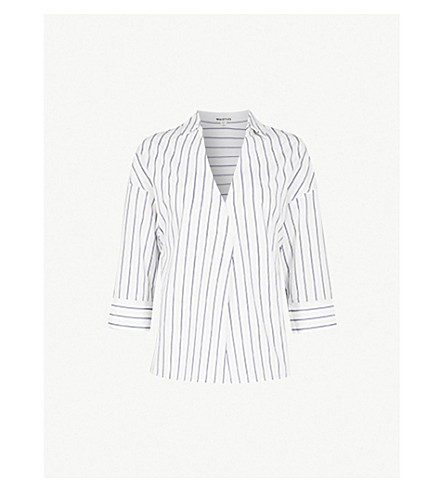 WHISTLES Lola striped cotton-blend shirt (Multi-coloured