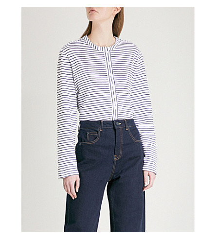 WHISTLES Striped cotton-jersey top (Multi-coloured