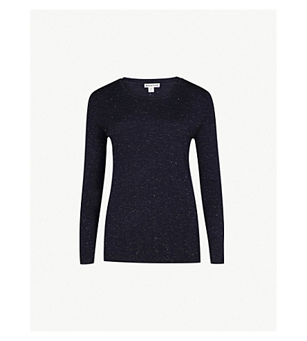 WHISTLES Annie sparkle knitted jumper (Navy