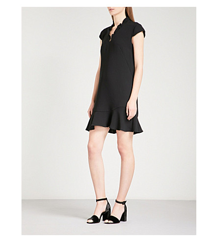 WHISTLES Federica frilled-collar crepe dress (Black