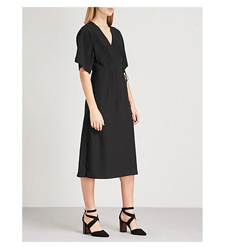 WHISTLES Marta crepe wrap dress (Black