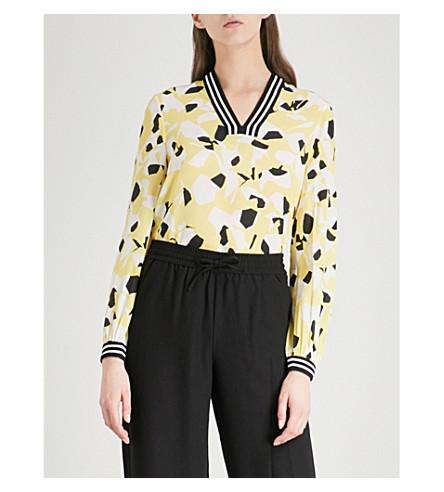WHISTLES Celeste striped-trim floral silk blouse (Multi-coloured
