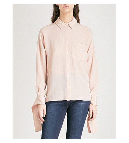 WHISTLES Tied-cuff silk-crepe shirt (Pale+pink