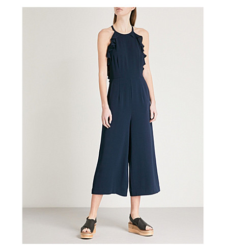 WHISTLES Sonia frill-detail crepe jumpsuit (Navy