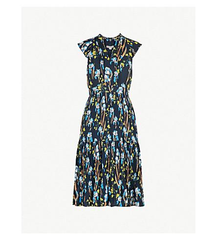 WHISTLES Celia floral-print pleated crepe dress (Black