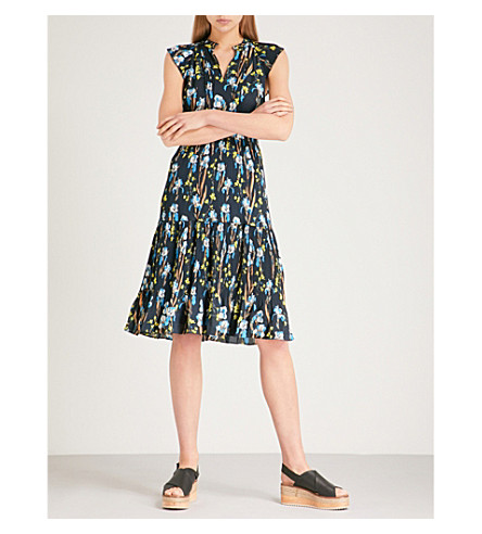 WHISTLES Celia floral-print pleated crepe dress (Black