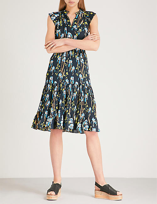 WHISTLES Celia floral-print pleated crepe dress