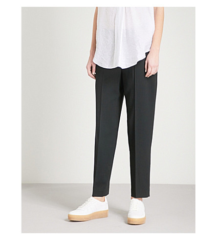 WHISTLES Anna high-rise tapered wool-blend trousers (Black